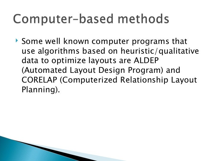 <ul><li>Some well known computer programs that use algorithms based on heuristic/qualitative data to optimize layouts are ...