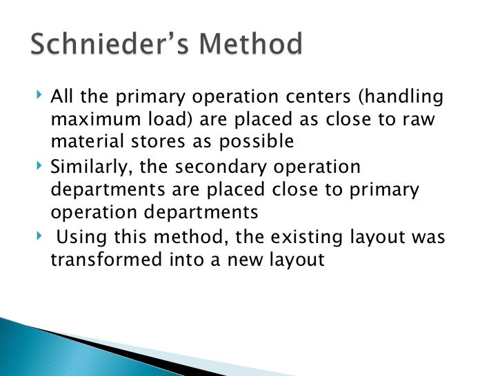<ul><li>All the primary operation centers (handling maximum load) are placed as close to raw material stores as possible <...