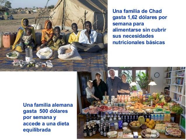 Una familia alemana gasta 500 dólares por semana y accede a una dieta equilibrada Una familia de Chad gasta 1,62 dólares p...