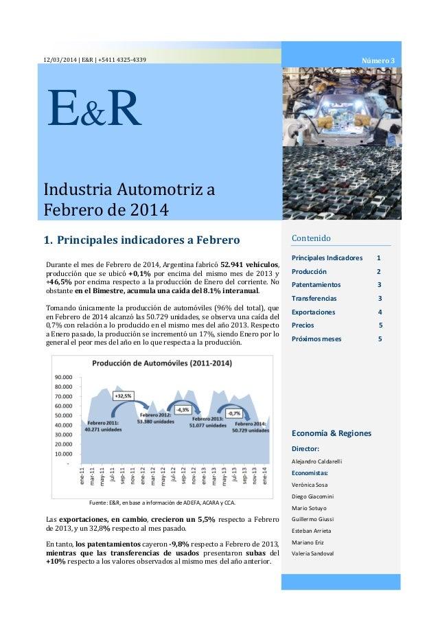 Informe Sobre La Industria Automotriz Nº 3 Con Datos De Febrero De 2