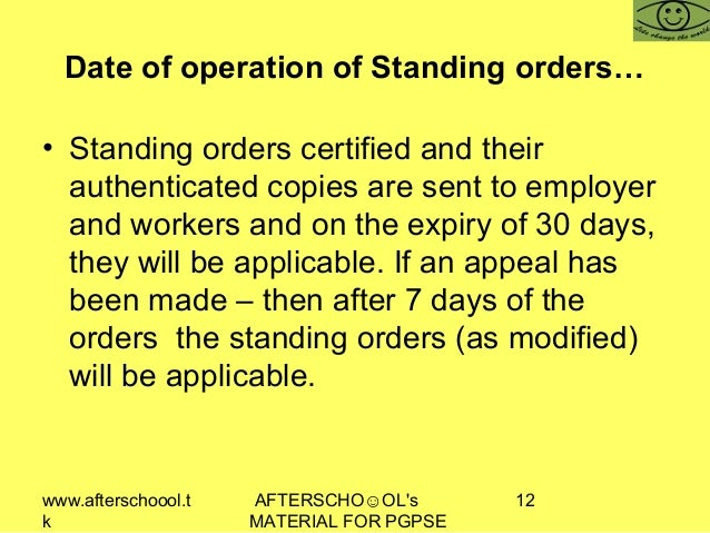 www.afterschoool.t k AFTERSCHO☺OL's MATERIAL FOR PGPSE 12 Date of operation of Standing orders… • Standing orders certifie...
