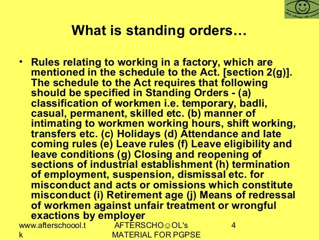 what is standing order act