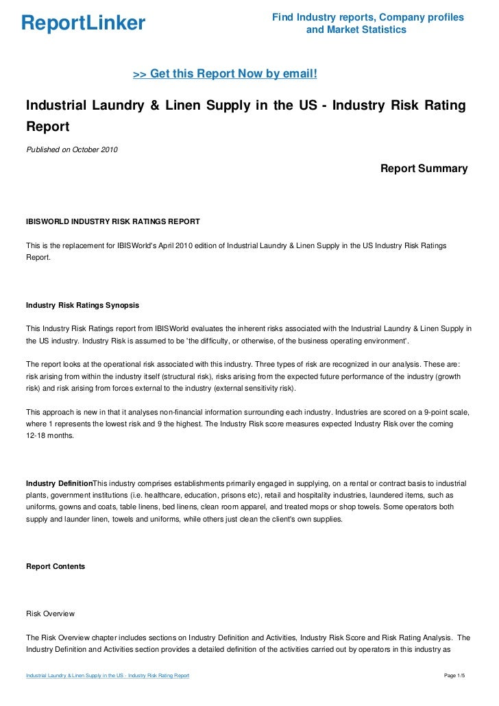 Industrial Laundry & Linen Supply in the US - Industry Risk
