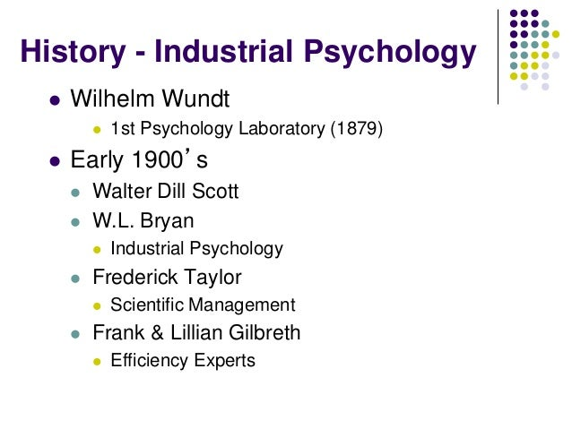 history of industrialorganizational psychology essay Industrial/organizational psychology paper write a 700- to 1,050-word paper in which you examine the fundamental concepts of the field of industrial/organizational psychology.