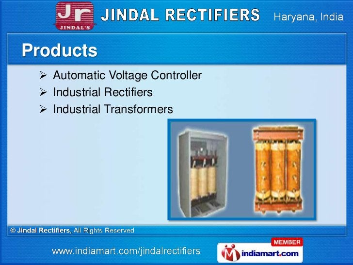 Products  Automatic Voltage Controller  Industrial Rectifiers  Industrial Transformers