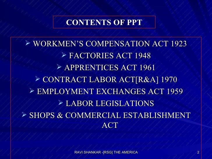 <ul><li>WORKMEN'S COMPENSATION ACT 1923 </li></ul><ul><li>FACTORIES ACT 1948 </li></ul><ul><li>APPRENTICES ACT 1961 </li><...