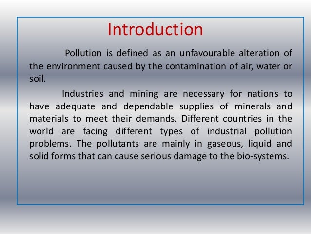 different types of pollution and their effects