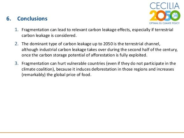 16 6. Conclusions 1. Fragmentation can lead to relevant carbon leakage effects, especially if terrestrial carbon leakage i...