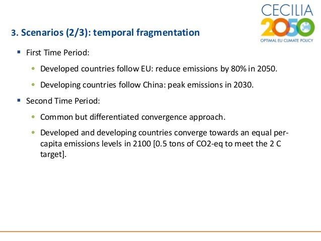 6 3. Scenarios (2/3): temporal fragmentation  First Time Period: • Developed countries follow EU: reduce emissions by 80%...