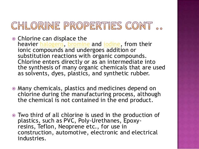 the origin and industrial uses of chlorine On april 22, 1915, german forces shock allied soldiers along the western front by firing more than 150 tons of lethal chlorine gas against two french colonial.