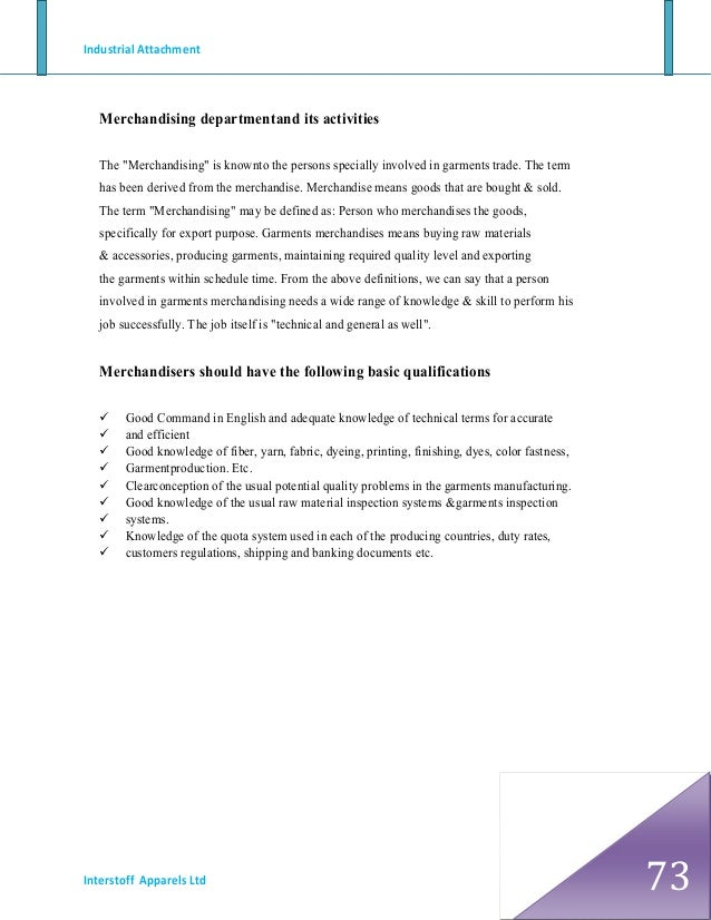 Industrial attachment reports in marketing department