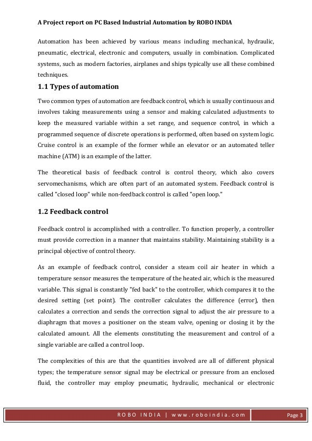 industrial automation project report pdf