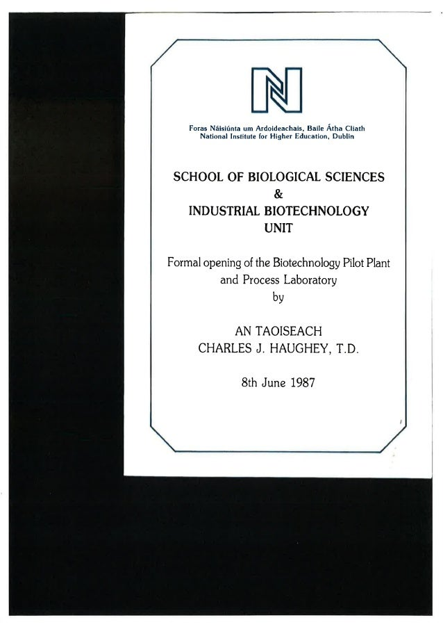 Industrial biotech unit opening day flyer 1987