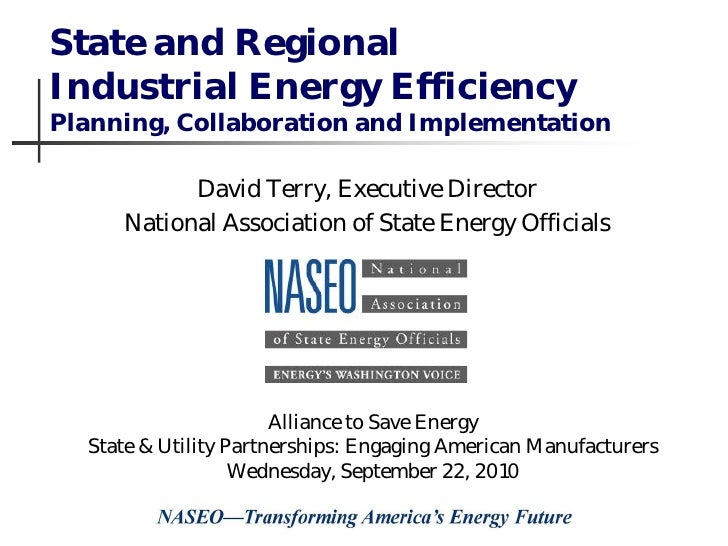 State and Regional Industrial Energy Efficiency Planning, Collaboration and Implementation             David Terry, Execut...