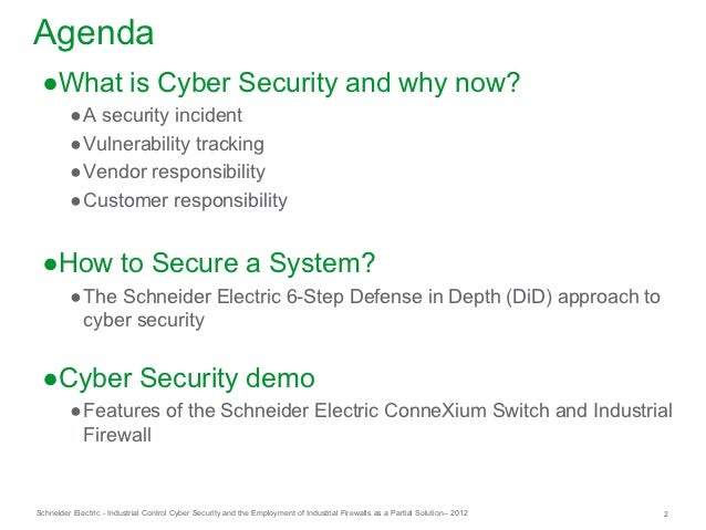 Industrial Control System Cyber Security and the Employment of Industrial Firewalls as a Partial Solution Slide 2