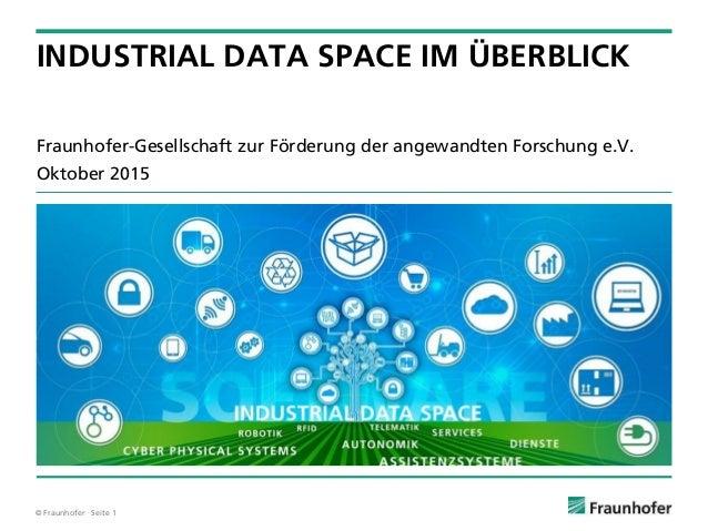 © Fraunhofer · Seite 1 Fraunhofer-Gesellschaft zur Förderung der angewandten Forschung e.V. Oktober 2015 INDUSTRIAL DATA S...