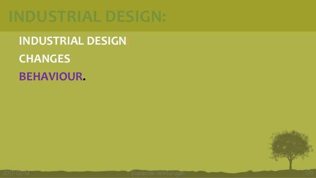 INDUSTRIAL DESIGN: INDUSTRIAL DESIGN: CHANGES BEHAVIOUR. Sivaraman Velmurugan 1292017-02-14