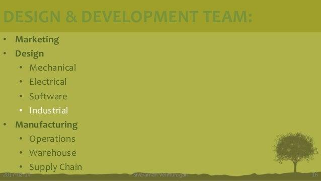 DESIGN & DEVELOPMENT TEAM: Sivaraman Velmurugan 162017-02-14 • Marketing • Design • Mechanical • Electrical • Software • I...