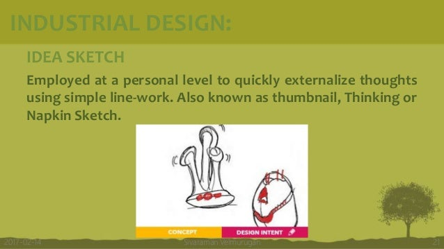 IDEA SKETCH Employed at a personal level to quickly externalize thoughts using simple line-work. Also known as thumbnail, ...