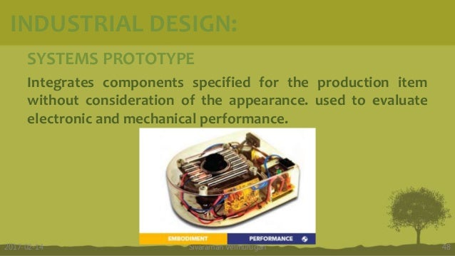 SYSTEMS PROTOTYPE Integrates components specified for the production item without consideration of the appearance. used to...