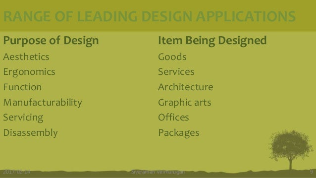 RANGE OF LEADING DESIGN APPLICATIONS Sivaraman Velmurugan 92017-02-14 Purpose of Design Aesthetics Ergonomics Function Man...