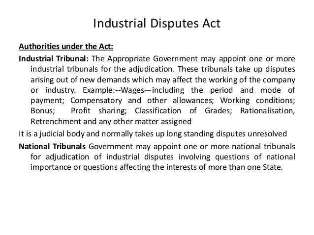 industrial dispute act Advertisements: industrial disputes: definition, forms and types concept of industrial disputes: in common parlance, dispute means difference or disagreement of.