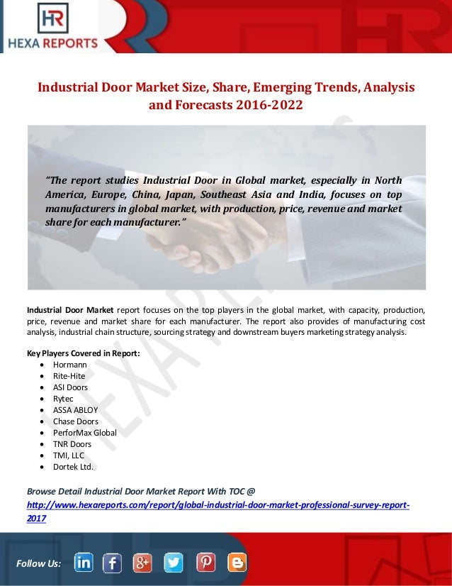 Follow Us Industrial Door Market Size Share Emerging Trends Analysis and Forecasts ...  sc 1 st  SlideShare & Industrial door market size share market trends analysis and forec\u2026