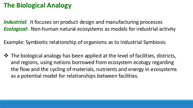 The Biological Analogy Industrial: It focuses on product design and manufacturing processes Ecological: Non-human natural ...