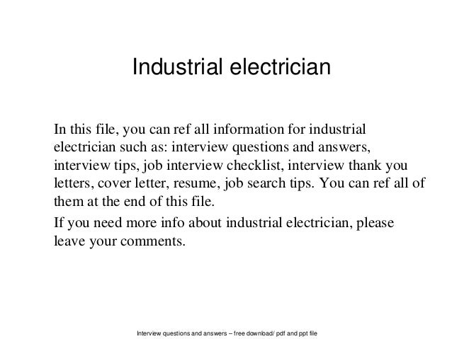 Interview Questions And Answers U2013 Free Download/ Pdf And Ppt File Industrial  Electrician In This ...