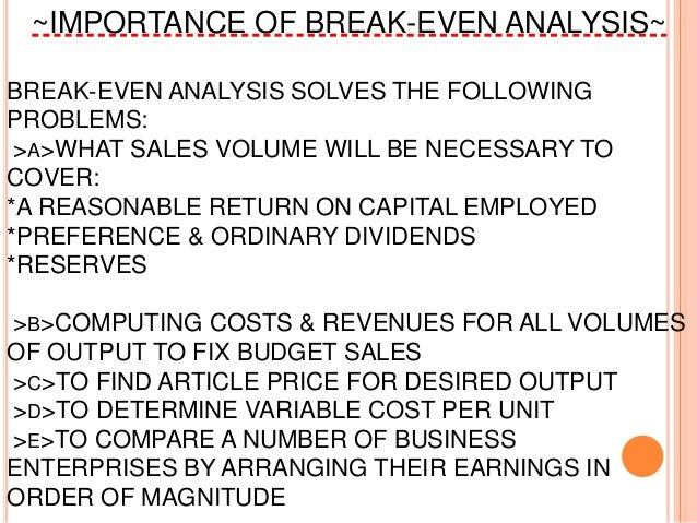 Industrial Engg Managt Break Even Analysis
