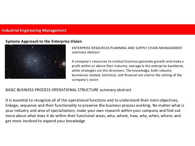 systems approach to the enterprise vision Industrial engineering mana…