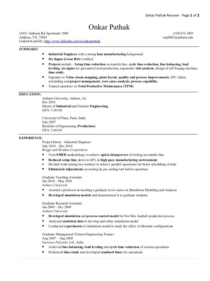 industrial engineer pathak onkar pathak resume page 1 of 2 - Industrial Engineer Resume New Section