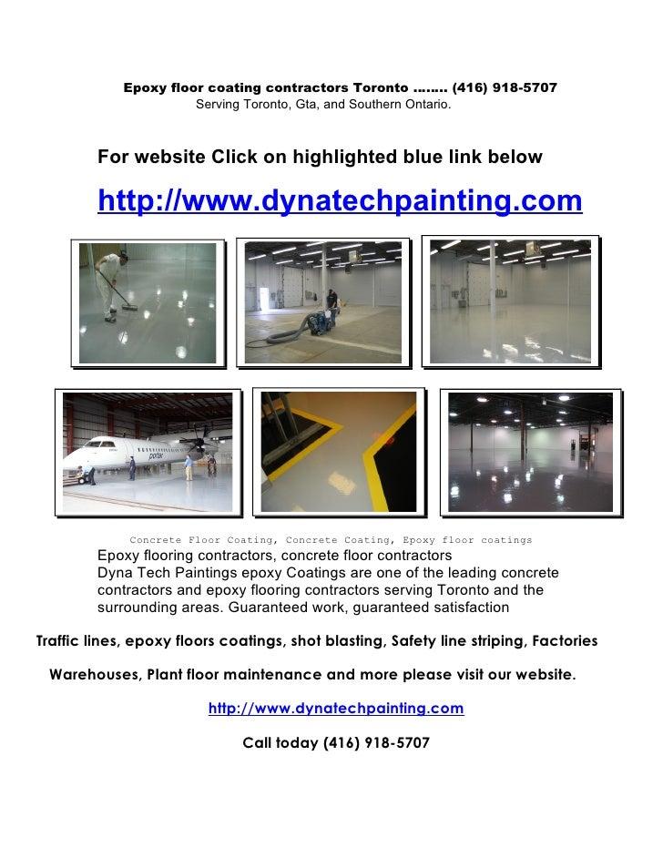 Epoxy floor coating contractors Toronto …….. (416) 918-5707                        Serving Toronto, Gta, and Southern Onta...