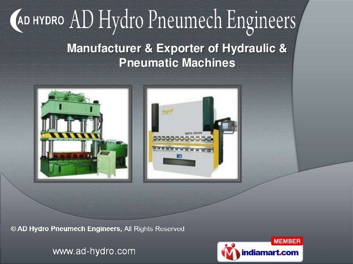 Manufacturer & Exporter of Hydraulic &        Pneumatic Machines