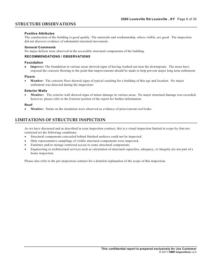 Concrete Inspection Report : Industrial inspection sample report