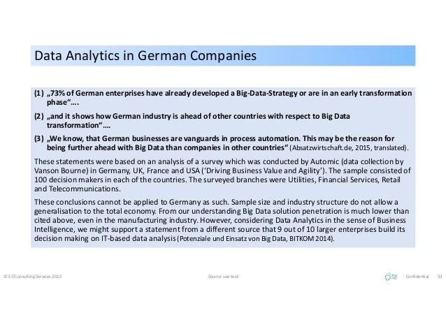 Data Analytics in German CompaniesData Analytics in German Companies © ESTconsulting Services 2015 Source: see text Confid...