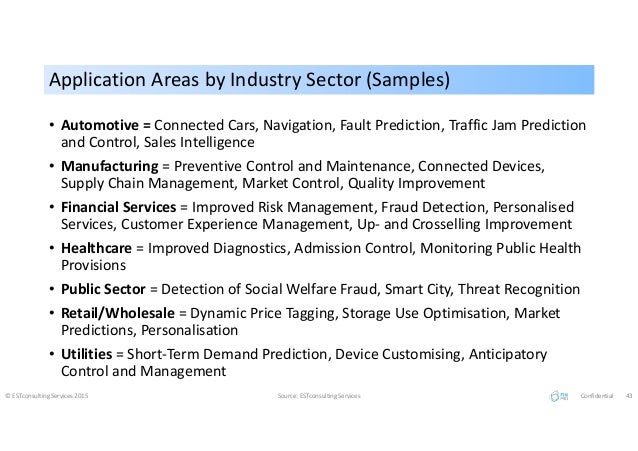 Application Areas by Industry Sector (Samples)Application Areas by Industry Sector (Samples) • Automotive = Connected Cars...