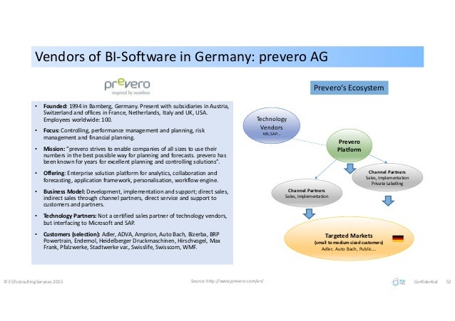 Vendors of BI-Software in Germany: prevero AGVendors of BI-Software in Germany: prevero AG © ESTconsulting Services 2015 S...