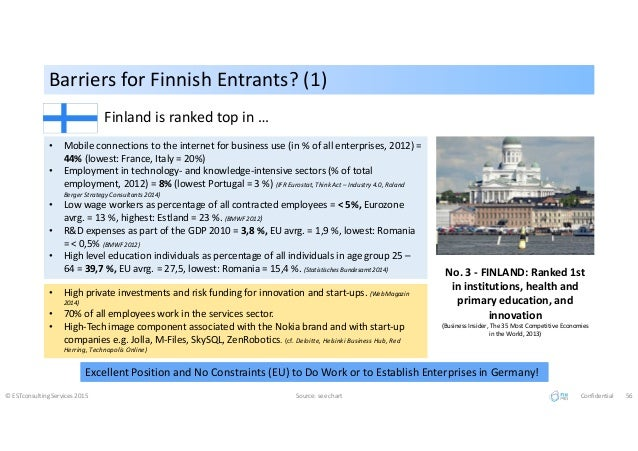 Barriers for Finnish Entrants? (1)Barriers for Finnish Entrants? (1) © ESTconsulting Services 2015 Source: see chart Confi...