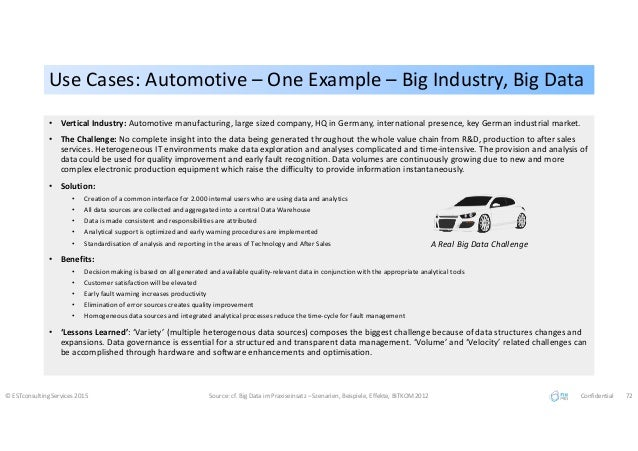 Use Cases: Automotive – One Example – Big Industry, Big DataUse Cases: Automotive – One Example – Big Industry, Big Data ©...