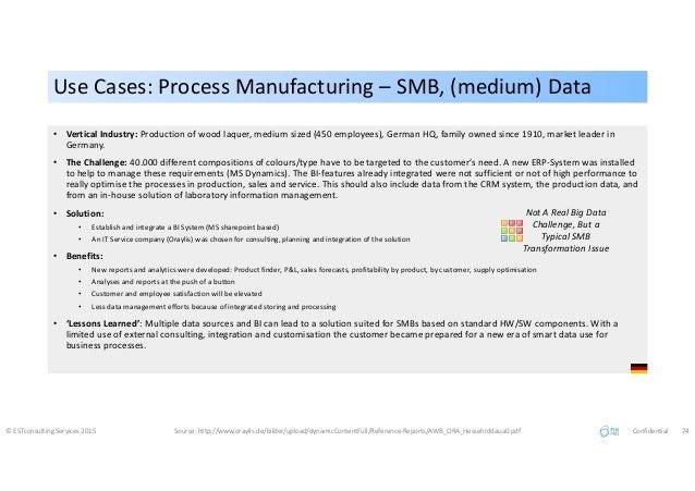 Use Cases: Process Manufacturing – SMB, (medium) DataUse Cases: Process Manufacturing – SMB, (medium) Data © ESTconsulting...