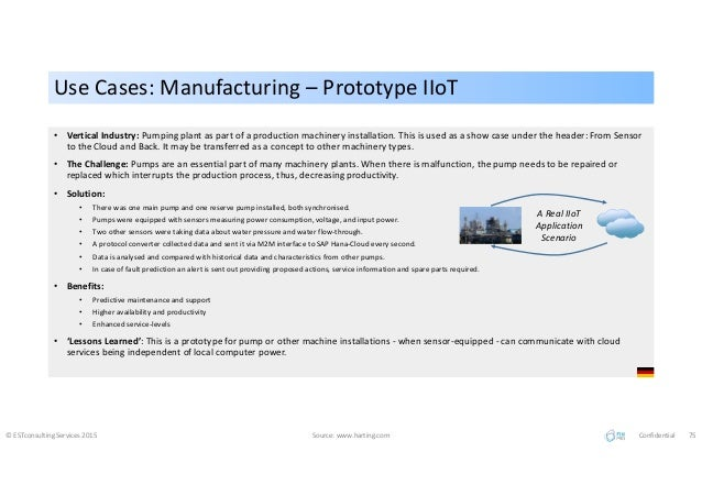 Use Cases: Manufacturing – Prototype IIoTUse Cases: Manufacturing – Prototype IIoT © ESTconsulting Services 2015 Source: w...
