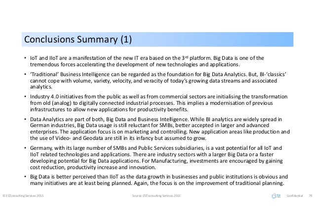 Conclusions Summary (1)Conclusions Summary (1) © ESTconsulting Services 2015 Source: ESTconsulting Services 2015 Confident...