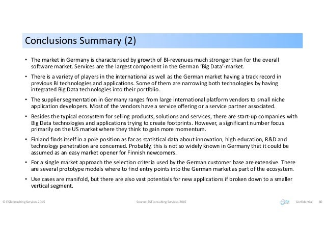 Conclusions Summary (2)Conclusions Summary (2) © ESTconsulting Services 2015 Source: ESTconsulting Services 2015 Confident...