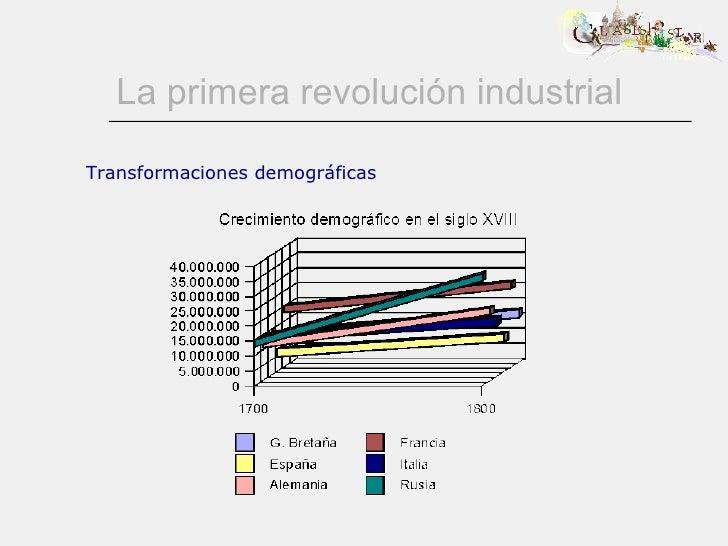 La primera revolución industrial Transformaciones demográficas