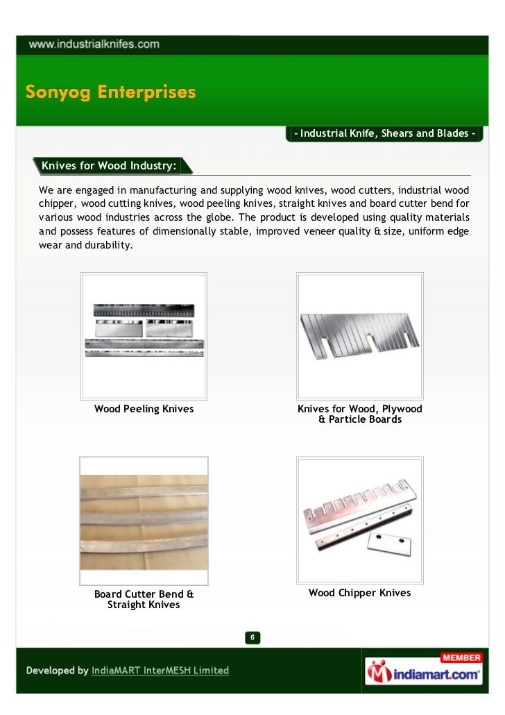 - Industrial Knife, Shears and Blades -Knives for Wood Industry:We are engaged in manufacturing and supplying wood knives,...