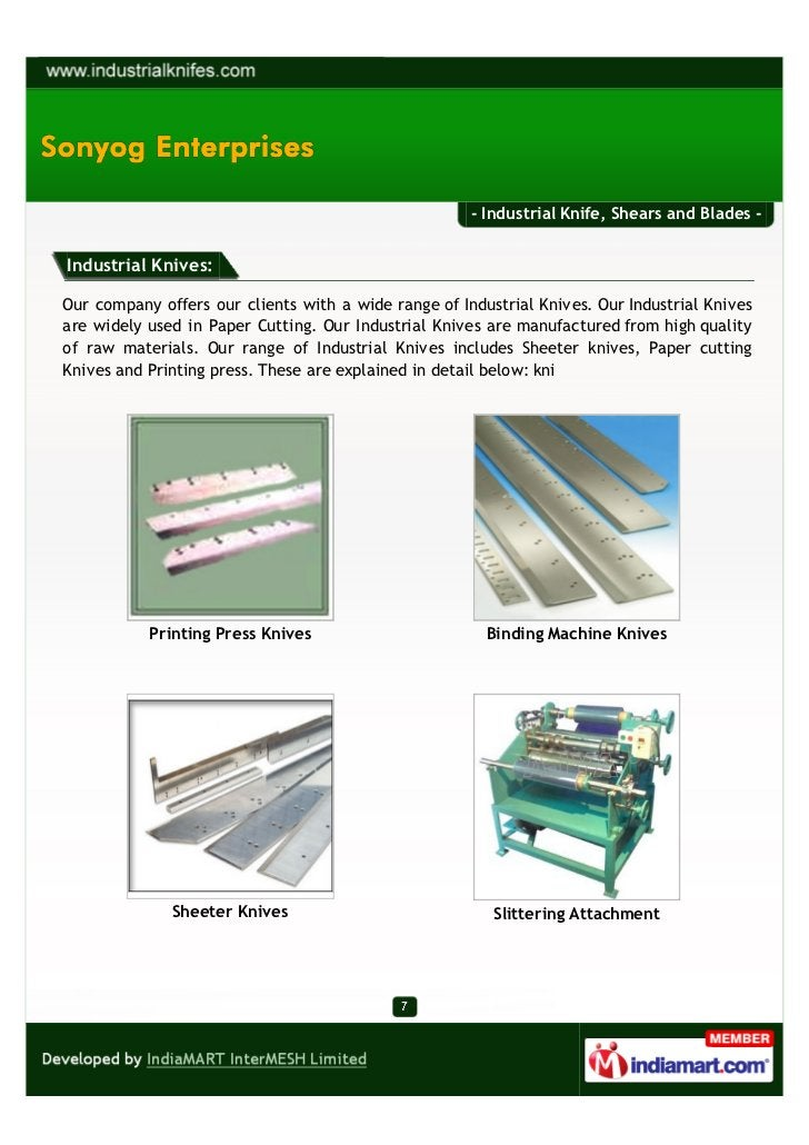 - Industrial Knife, Shears and Blades -Industrial Knives:Our company offers our clients with a wide range of Industrial Kn...