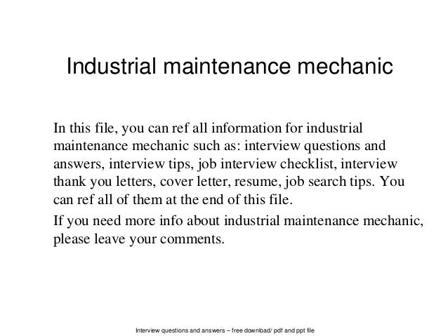 Interview Questions And Answers U2013 Free Download/ Pdf And Ppt File Industrial  Maintenance Mechanic In ...  Industrial Maintenance Resume