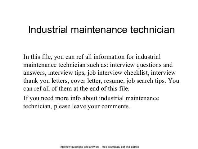 maintenance cover letter