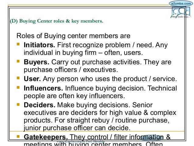 buying roles individual buying Consumer behavior involves the  individual members of families often serve different roles in  organizational buying usually involves more people than.